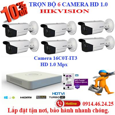Trọn bộ 6 camera HD HIKVISION 1.0 (IT3)