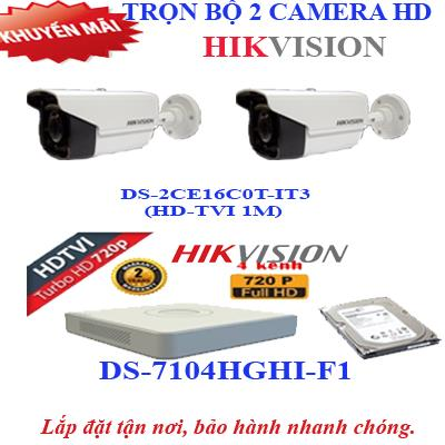 Trọn bộ 2 camera HD HIKVISION 1.0 (IT3)