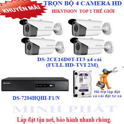 Trọn bộ 4 camera FULL HD HIKVISION 2.0 (IT3)